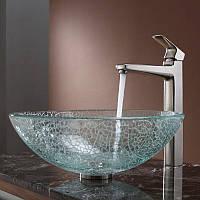 Эксклюзивный умывальник стеклянный круглый 420 мм (эффект битого стекла), фото 1