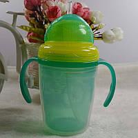 Стакан непроливайка (поильник) детский с мягкой силиконовой трубочкой на 230 мл. (зеленый), фото 1