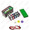 Покерный набор в металлической коробке IG-1104215 (200 фишек, с номиналом, 2 кол.карт, полотно)