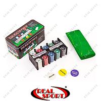 Покерный набор в металлической коробке IG-1104215 (200 фишек, с номиналом, 2 кол.карт, полотно), фото 1
