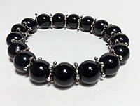 Браслет Агатовый, натуральный камень, цвет черный
