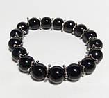 Браслет Агатовый, натуральный камень, цвет черный, тм Satori \ Sb - 0050, фото 2