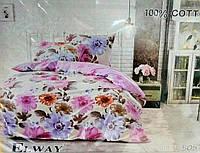 Комплект постельного белья ELWAY евро 5057 сатин