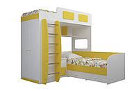 """Кровать для детей двухъярусная+ ящики+ тумбочка+ шкаф """"Тандем"""" (белый-желтый)"""