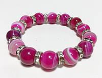 Браслет Агатовый, натуральный камень, цвет малиновый и его оттенки
