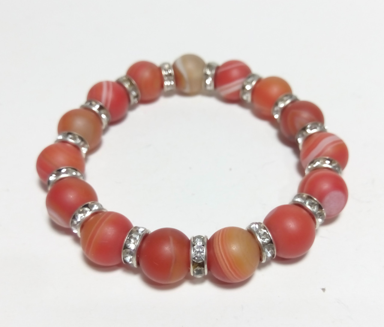 Браслет из Агата матовый, натуральный камень, цвет оранжевый и его оттенки, тм Satori \ Sb - 0054
