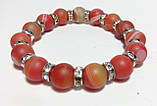 Браслет из Агата матовый, натуральный камень, цвет оранжевый и его оттенки, тм Satori \ Sb - 0054, фото 2