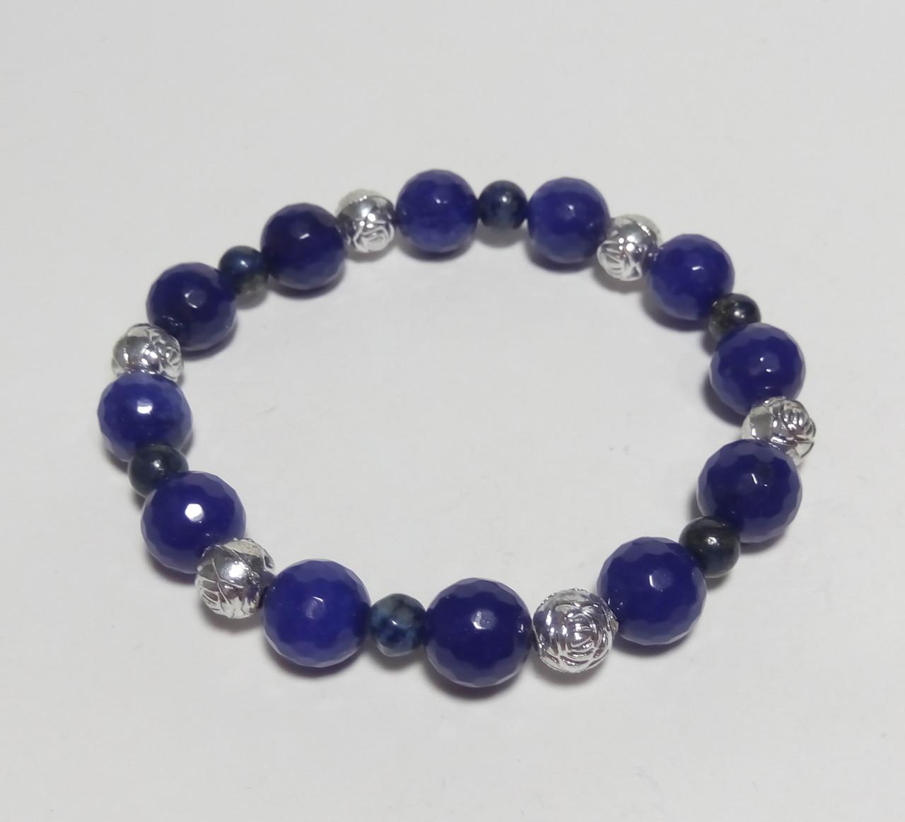 Браслет Агат, Лазурит натуральный камень, цвет синий и его оттенки, тм Satori \ Sb - 0055
