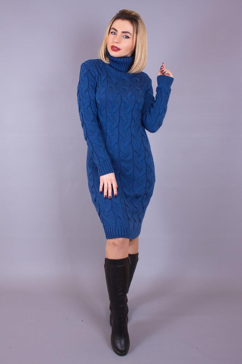 В'язана жіноча сукня коси Лало коротке з горлом, джинс