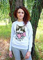 """Женский свитшот """"Кошка с бантиком"""""""