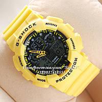Неубиваемые спортивные наручные часы Casio G-shock GA-100 разных цветов Черный Черный Желтый