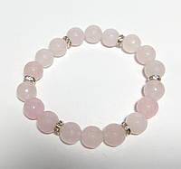 Браслет Розовый кварц, натуральный камень, цвет розовый и его оттенки