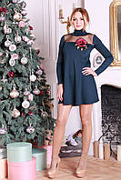 Красивое короткое платье с аппликацией Ленто аквамарин
