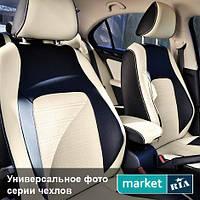 Чехлы для Fiat Punto, Черный + Белый цвет, Экокожа