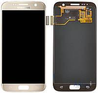 Дисплей (экран) для телефона Samsung Galaxy S7 EDGE G935F + Touchscreen with frame Original Gold