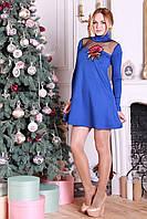 Красивое короткое платье с аппликацией Ленто электрик