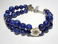 Браслет Лазурит натуральный камень, цвет синий и его оттенки