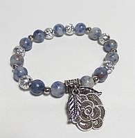 Браслет Лазуритовый натуральный камень, цвет синий и его оттенки