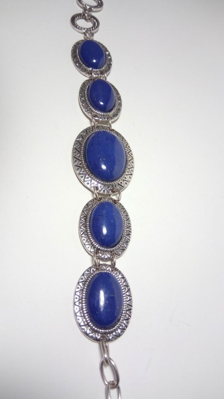 Браслет Лазуритовый стильный натуральный камень, цвет синий и его оттенки, тм Satori \ Sb - 0066