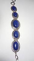Браслет Лазуритовый стильный натуральный камень, цвет синий и его оттенки