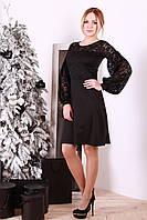 Нарядное женское платье с гипюром Ритенуто черное