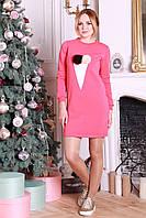 Теплое женское платье с меховыми шариками Ваканза коралл