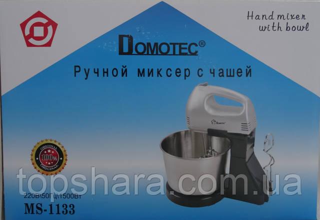 Миксер с чашейметал Domotec MS1133, ручной миксер Silver