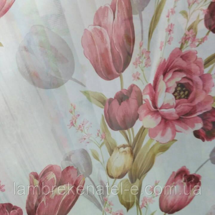 Тюль шифон Тюльпаны