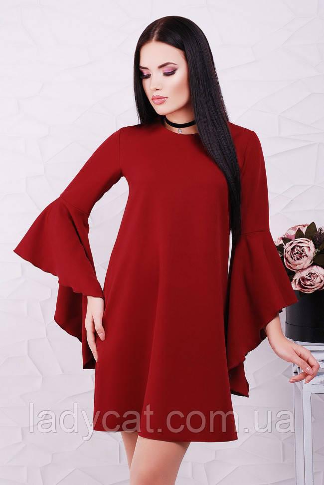 25335794dc94577 Красивое бордовое платье-трапеция с рукавом воланом