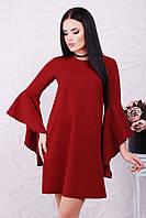 """Красивое бордовое платье-трапеция с рукавом воланом""""Dolores"""""""