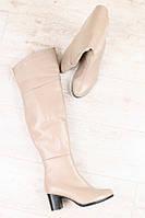 Сапоги-ботфорты женские на каблуке (зима), материал - натуральная кожа + мех (евро), цвет - бежевый