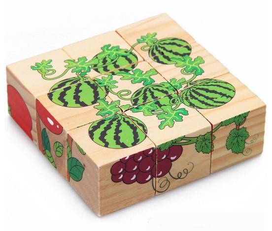 """Деревянные кубики """"Фрукты"""" / Деревяні кубики """"Фрукти"""" -  6 рисунков К"""