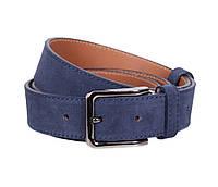 Мужской замшевый ремень синего цвета 3,3 см под брюки Leather Collection ZM-6320