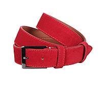 Замшевый ремень красный 3,3 см Leather Collection ZM-5476324 унисекс