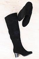 Сапоги-ботфорты женские на каблуке (зима), материал - натуральная замша + мех (евро), цвет - черный