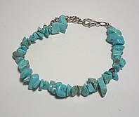 Браслет Бирюза крошка натуральный камень, цвет голубой и его оттенки, тм Satori \ Sb - 0073