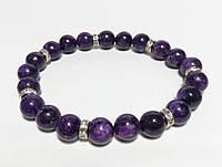 Браслет Чароит темный, натуральный камень, цвет фиолетовый и его оттенки