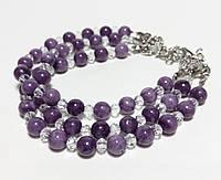 Браслет с Чароитом трехрядный, Чешский Хрусталь, натуральный камень, цвет фиолетовый и его оттенки