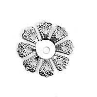 Шапочка для бусин, Цветок, Серебряный тон, (Для 16 мм бусины), 19 мм x 19 мм