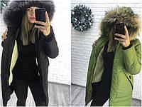 Зимнее пальто на синтепоне и меху женское Норма Батал