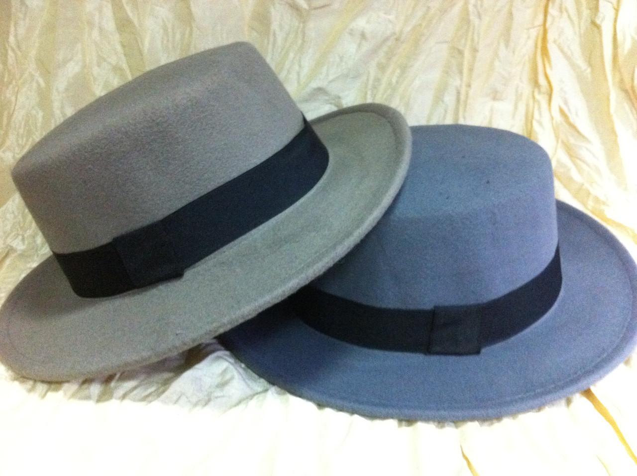 Шляпа канотье серая поля 5.5 см