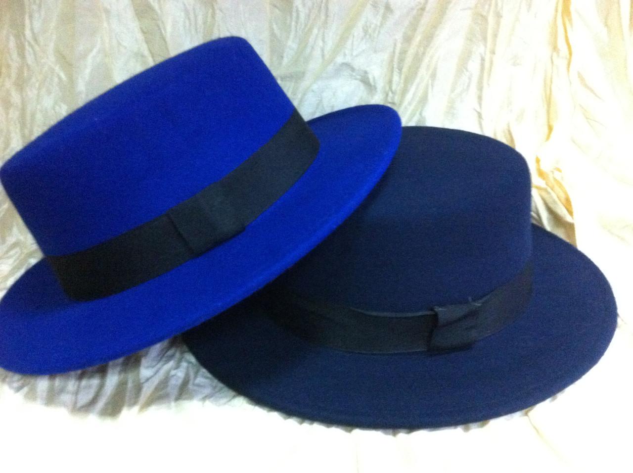 Шляпа канотье синяя поля 5.5 см