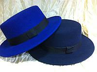 Шляпа канотье синяя поля 5.5 см, фото 1