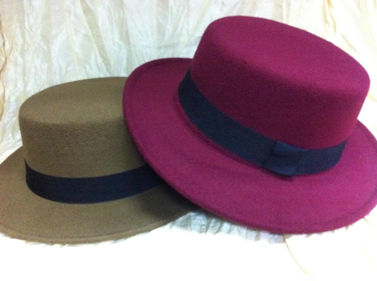 Шляпа канотье коричневая и бордовая поля 5.5 см
