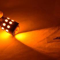 Светодиодная лампа SL LED 24-2835 SMD в указатель поворота с цоколем 1156(P21W)(BA15S)  Желтый, фото 2