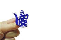 Брошь керамическая авторский дизайн ручная роспись синий чайник в горошек