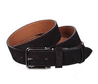 Изящный мужской замшевый ремень черный 3,3 см Leather Collection ZM-5476328