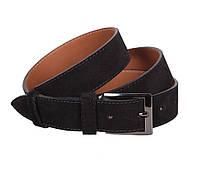 Шикарный мужской замшевый ремень черный 3,3 см Leather Collection ZM-5476329