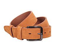 Добротный мужской замшевый ремень песочного цвета 4 см Leather Collection ZM-547631