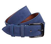 Синий замшевый ремень мужской 4 см Leather Collection ZM-547637